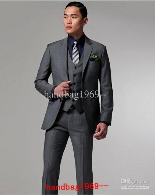 2017new Style Two Ons Charcoal Lapel Back Groom Tuxedos Best Man Suits Groomsmen Men Wedding