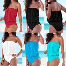 2017 Summer Sexy Women One-piece Strapless Bandage Swimwear Swimsuit Bodysuit Bikini Beachwear