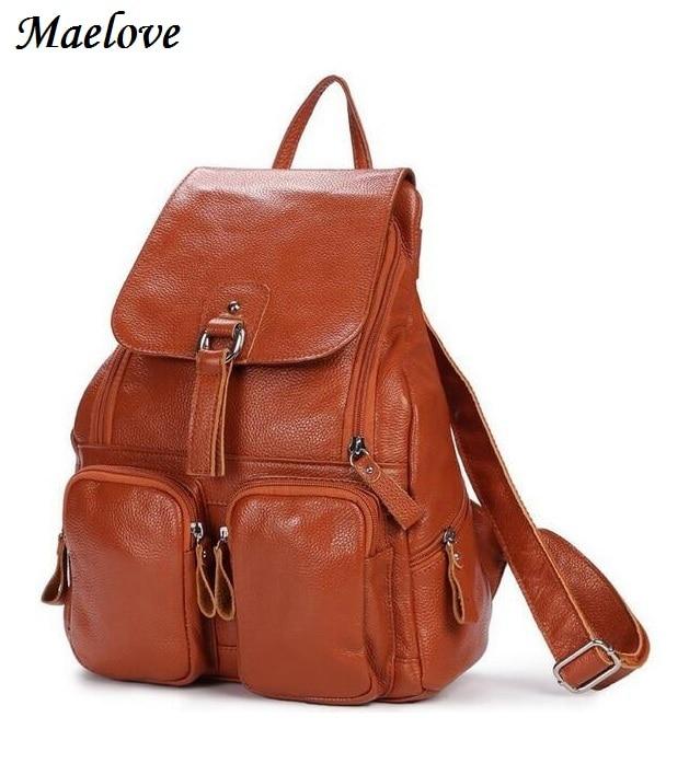Maelove New Arrival Women bag Genuine Leather bag Backpack Cowhide leather shoulder bag Student's School bag backpack