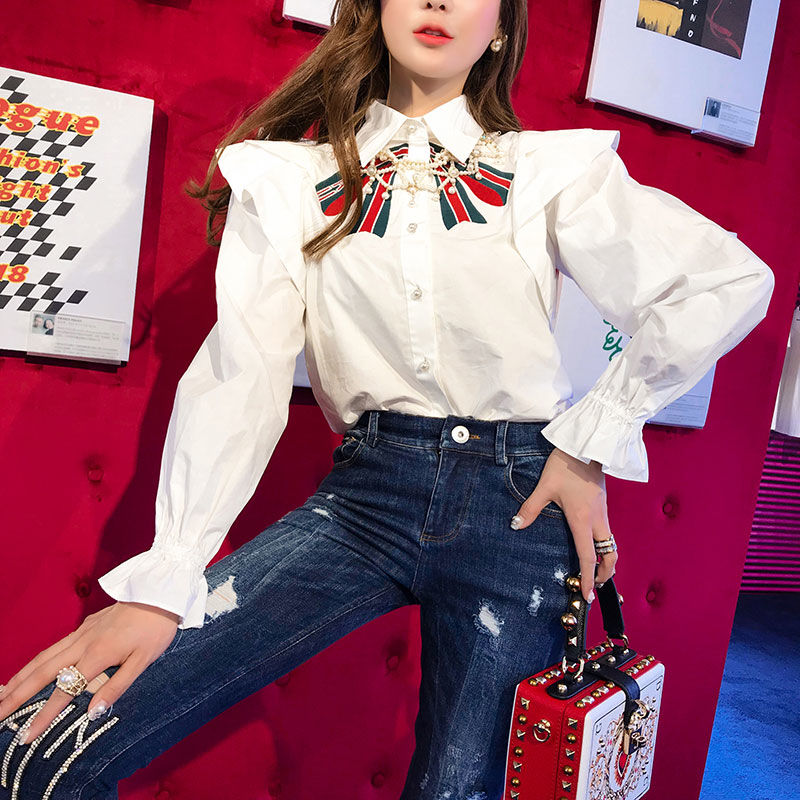 2019 New Women's   Blouses     Shirt   Party Ruffles White Spring Big Bows Embroidery Long Sleeve   Blouse   Blusa   Shirts   Femininas NS746