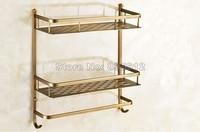 Wall Mounted Dual Layer Bathroom Shelf Basket Kitchen Bathroom Shelf Shower Caddy Shelf Antique Brass Finish