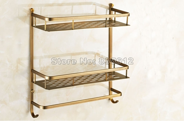 Wall Mounted Dual Layer Bathroom Shelf Basket Kitchen Bathroom Shelf Shower  Caddy Shelf Antique Brass Finish