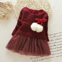 Bear Leader Baby Girls Dress Autumn Winter long-sleeve princess dress Ball of yarn Kids Clothes Children Party princess dresses