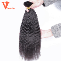 Kinky Straight Human Braiding Hair Bulk Bundle 3Pcs No Weft 100% Coarse Yaki Bulk Hair For Braiding Brazilian Virgin Venvee