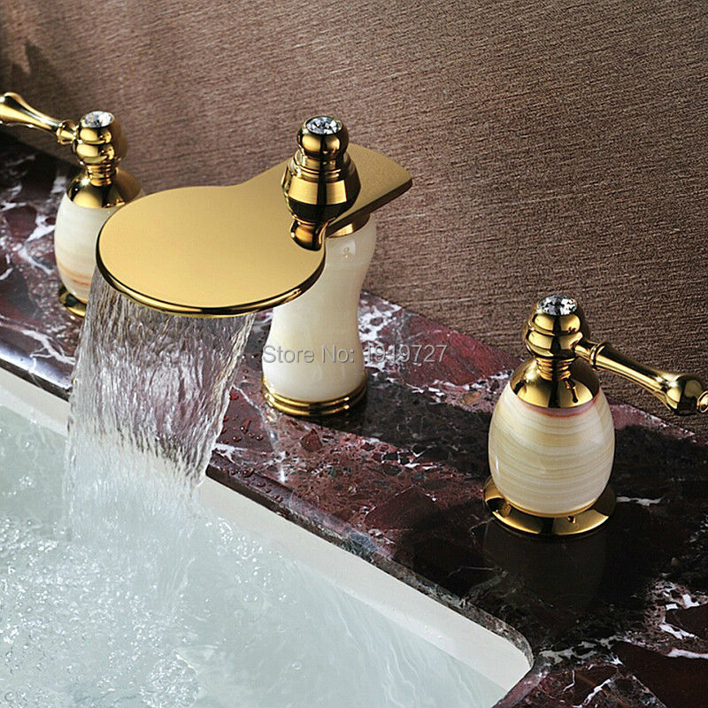2017 г. Современная роскошный золотой Стиль широкое двойной рычаг Deck Mount 3 отверстия Для ванной Ванная комната сосуд Раковина смесители