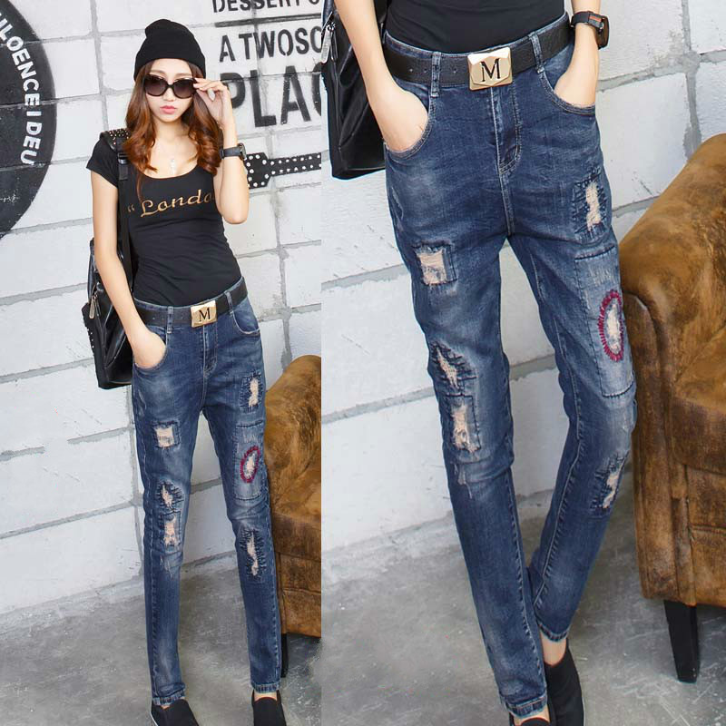 2016 patch jeans with woman vaqueros mujer pantalon femme Has elasticity jeans with embroidery