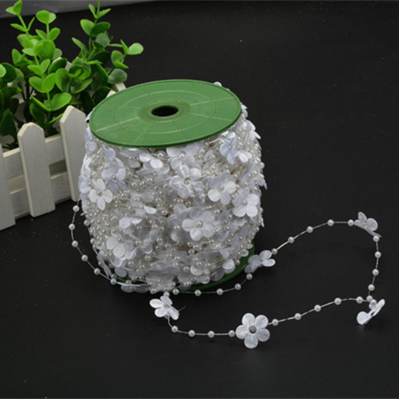 White/Beige 10 Pearl Beads Chain Flowers Blossom Cloth Wedding Decoration DIY Bride Holding Flowers Christmas Decor Supplies