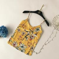 Women Sexy Strapless Camis Camis Print Satin Tank Tops V neck sweet Summer 2018 Slim Cute Tank Female blouses Camisole