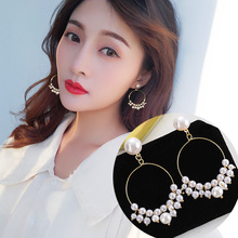 SUROU 2019 New Women Geometric Earrings Female Korea Joker Simple Temperament Lady Pearl