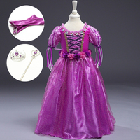 New Cartoon Dress In Girls Birthday Clothes Children Rapunzel Clothing Dress Up Character Princess Halloween Costumes Kids