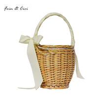 Beach Straw Bags Wicker Basket Bag totes Women Bohemian Handbags Summer 2017 fashion bag with bow