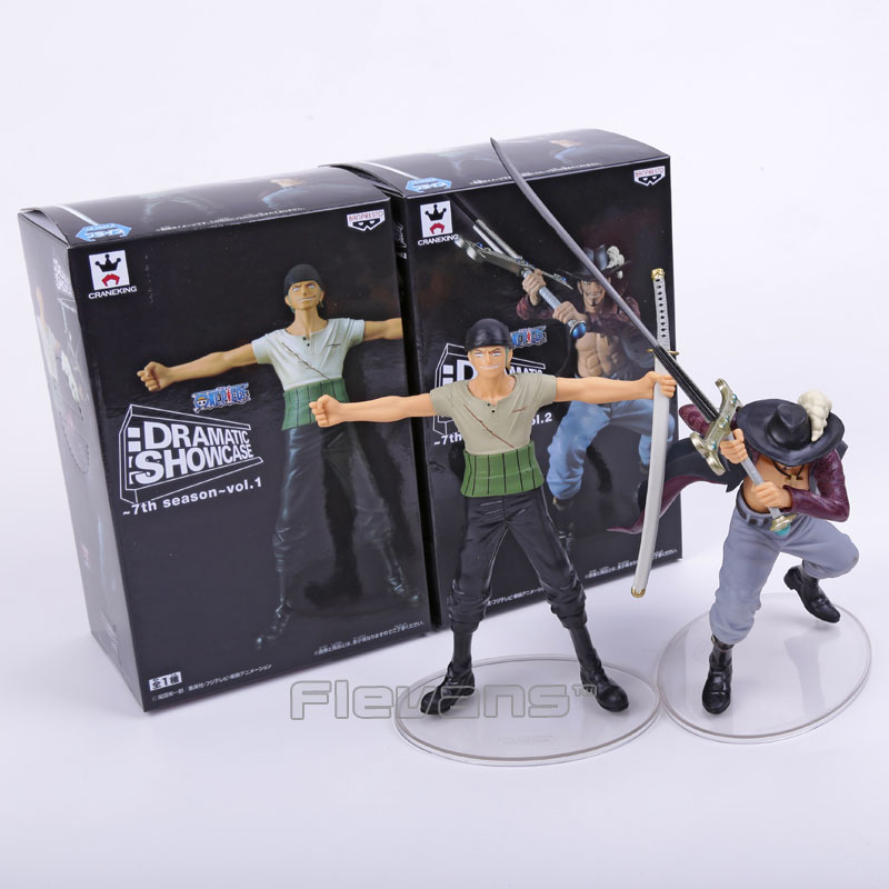 Anime One Piece Dramatic Showcase 7th senson Roronoa Zoro VS Dracule Mihawk PVC Figures Collectible Model Toys 2pcs/set Boxed anime one piece zoro and dracula mihawk model garage kit pvc aaction figure classic variable action toy doll