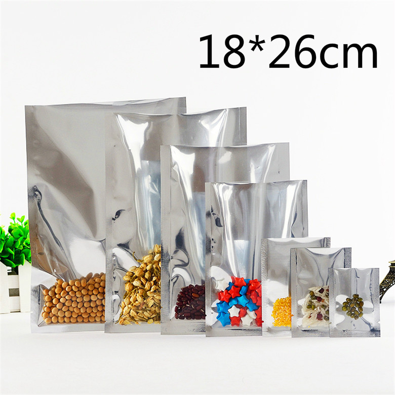 DHL 400 Pcs/Lot 18*26cm Silver / Clear Top Open Plating Aluminum Foil Plastic Packing Bags Heat Seal Food Party Vacuum Pouch