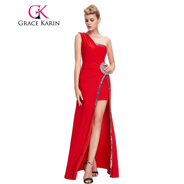 ad2b5c5bedf Grace Karin Evening Dresses Long Sheath Red One Shoulder Formal Dinner Gowns  Split Elegant Sequin Evening Dress Vestidos 2017