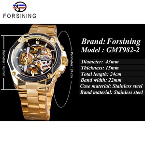 Image 3 - Forsining 2017 新コレクション透明ケースゴールデンステンレス鋼スケルトンの高級デザインメンズ腕時計トップブランド腕時計自動