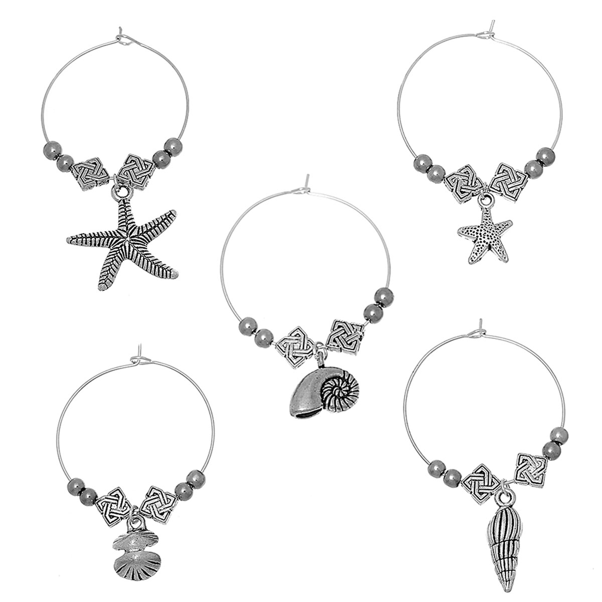 8SEASONS Wine Glass Charms Table Decorations Ocean Series Pendants Mixed  antique silver-color 40mm(1 5 8