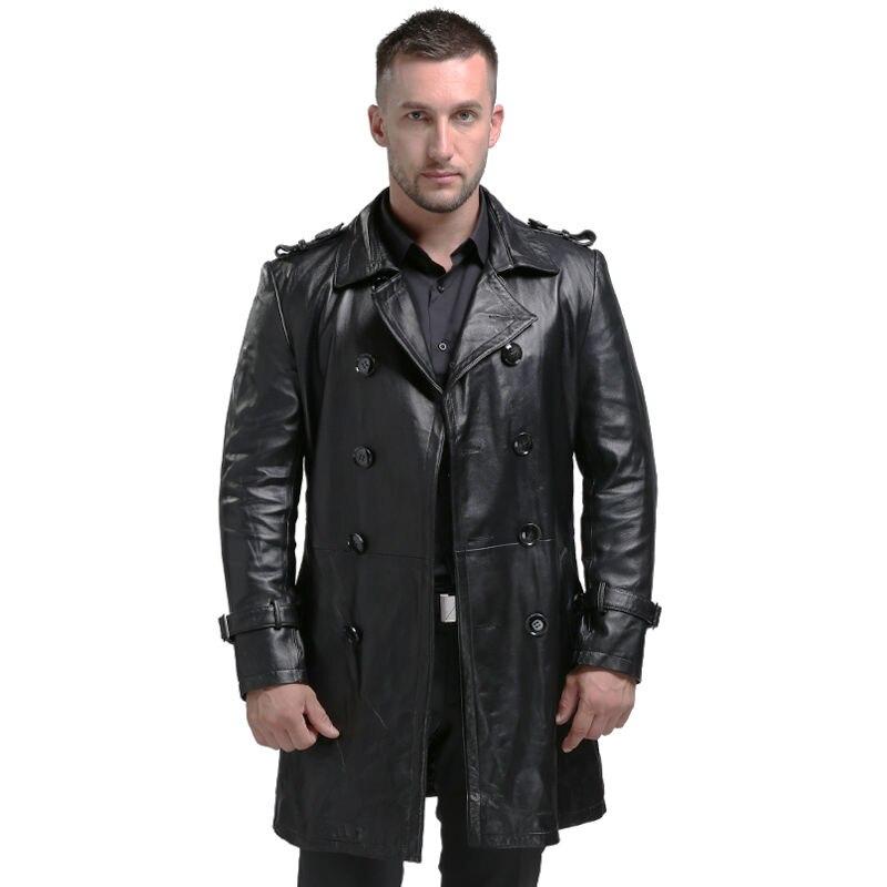 AIBIANOCEL de Printemps Hommes Véritable Veste En Cuir Pour Hommes Jaqueta De Couro Masculina Mode Noir en peau de Mouton Mâle Manteau Plus La Taille 94