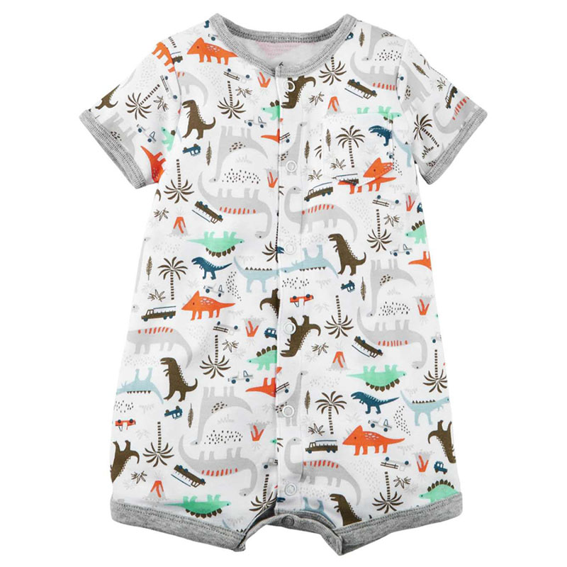 2018 New Baby Boy Rompers Kids Short Sleeve Jumpsuit Newborn Romper Dinosaurs Baby Boy Summer Clothes 0-24M Infant Roupas 2016 summer short sleeve baby boy sailor suit jumpsuit infant clothing navy newborn baby rompers