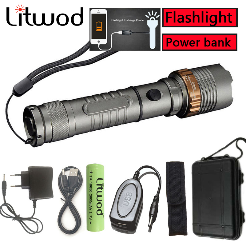 Litwod 2622Z30 LED Tactical Flashlight Torch Zoom XM-L T6 self defense supplies Search Led portable Light Function Power bank outdoor camping emergency light solar powered led flashlight self defense glare flashlight hammer torch light with power bank