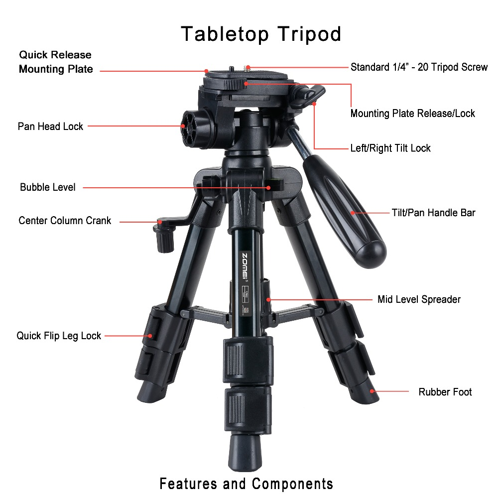 Zomei Q100 20 quot 3 way Fluid Head Mini Table Top Tripod for Canon Nikon SLR DSLR Camera Camcorder with Carrying Bag in Tripods from Consumer Electronics
