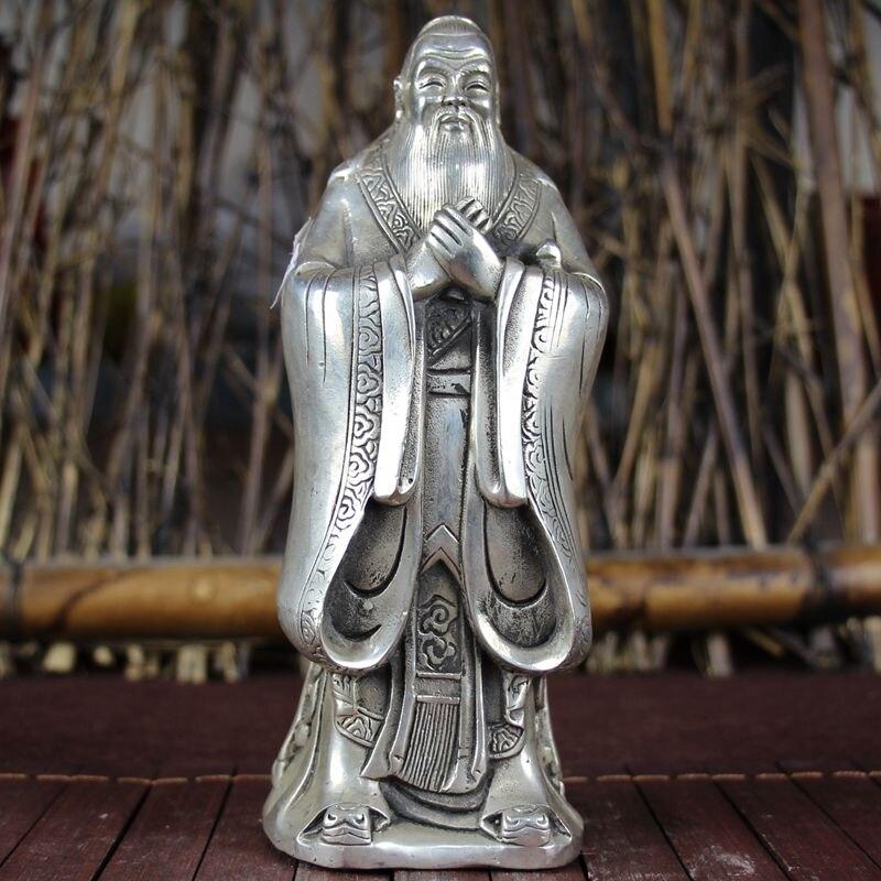 Chine ancienne plaque de décoration Feng Shui avec statue Confucius en argent