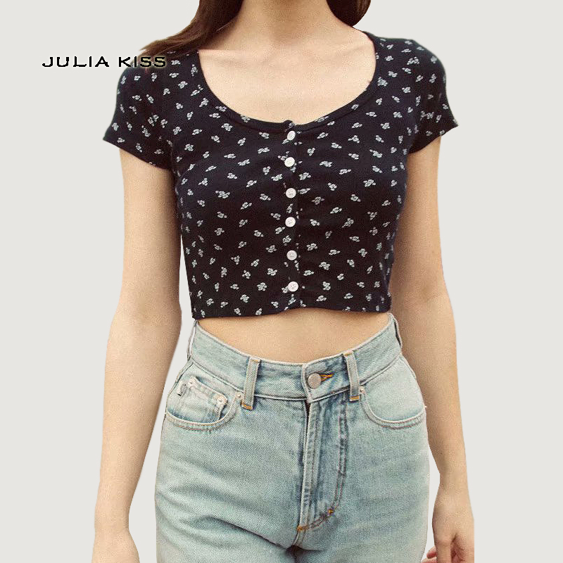 Women Fitted Ribbed Crop Top Button Front Rib Crop Tee