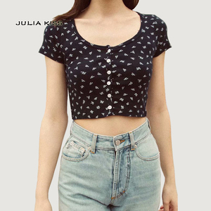 Women Fitted Ribbed Crop Top Button Front Rib Crop Tee(China)