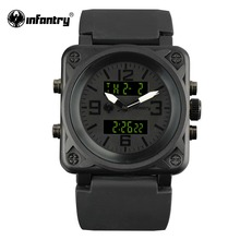 INFANTRY Mens Dual Movement Wristwatch Digital Chronograph Sports Watches Top Brand Luxury Square Quartz Watch Relojes Hombre