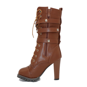 TAOFFEN Ladies shoes Women boots High heels Platform Buckle Zipper Rivets Sapatos femininos Lace up Leather boots Size 34-48 1