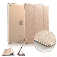Luxury Smart Wake Sleep Folio Stand Smart Three Fold Silk Leather Case Cover For IPad 9