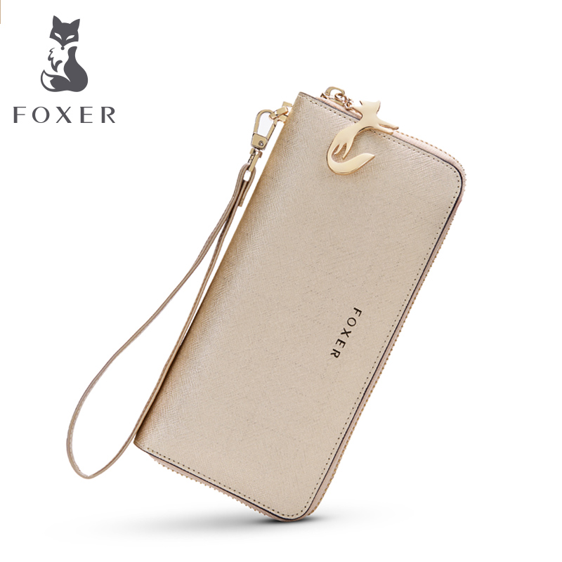 FOXER Women's Genuine Leather Long Wallets Female Clutch bag Fashion Card Holder Luxury Cellphone Purse for Lady wallet foxer brand women split leather wallets female clutch bag fashion coin holder luxury purse for lady women s long wallet
