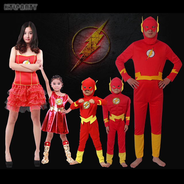 Great KTLPARTY Cosplay Party Adult Men Women Boy Child Barry Allen The Flash  Costume Suit Girl The Flash Dress Superhero Outfit