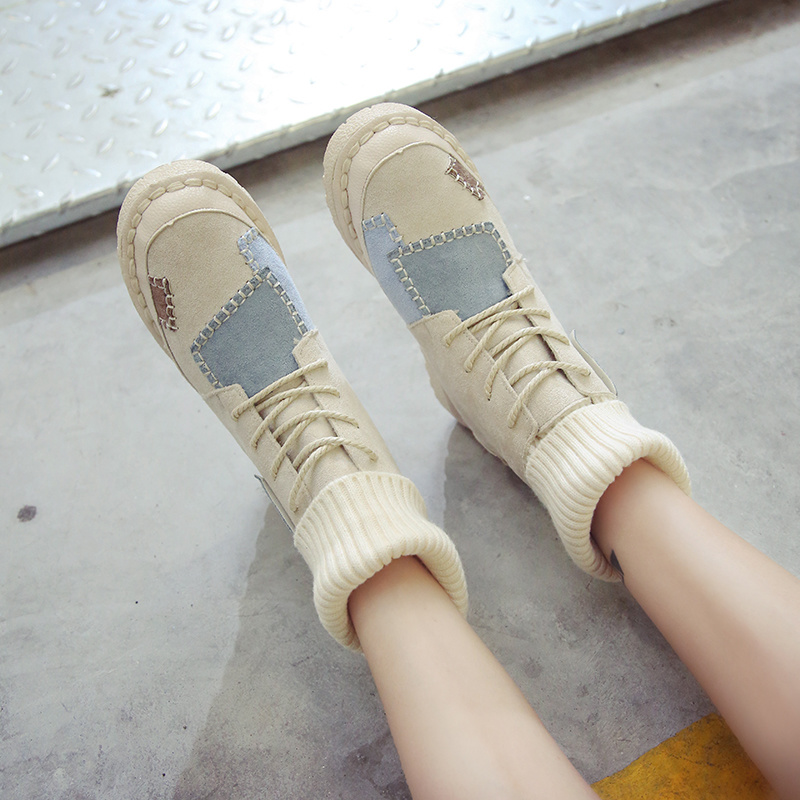 Luxury Shoes Women Designers Black Beige Winter Boots for Female Rubber Bottom Casual Shoes Women High Top Boots Brands 34