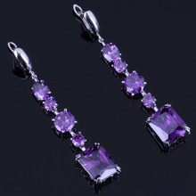 Classy Rectangle Purple Cubic Zirconia 925 Sterling Silver Drop Dangle Earrings For Women V0835