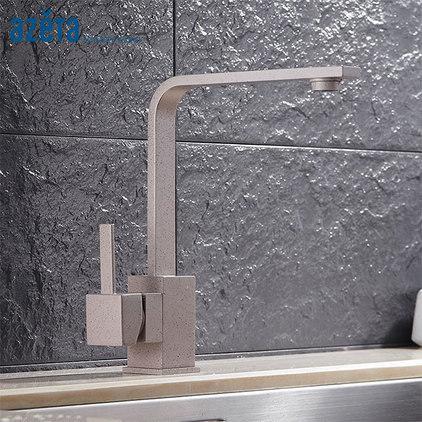 Azeta Kitchen Faucets Paint Spraying Brass Kitchen Tap Deck Mounted Kitchen Mixer Tap Rotatable Kitchen Sink Faucet MK1204PD