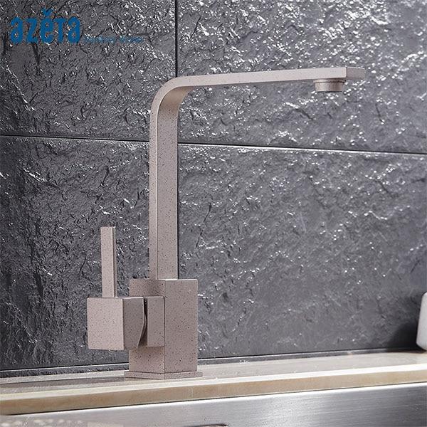 Azeta Kitchen Faucets Paint Spraying Brass Kitchen Tap Deck Mounted Kitchen Mixer Tap Rotatable Kitchen Sink Faucet MK1204PD