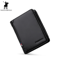 Williampolo Fashion Short Wallet Men Luxury brand Leather Handmade 3 Bifold Striped purse Coin Pocket male purse PL265