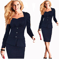 New Fashion 2016 Women Work Button Elegant Dress Bodycon Square Collar Long Sleeve Knee-Lenght Pencil Casual Red Office Dresses
