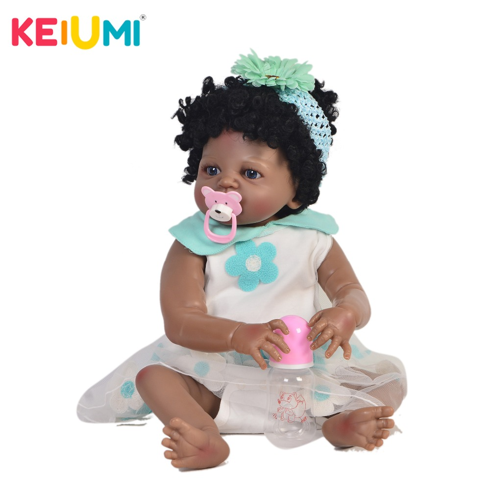 KEIUMI 23 Inch Fashion Reborn Doll 57 cm Full Body Silicone Realistic Baby Doll Toy For Children Christmas Gift Black Curly Hair цена