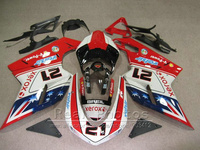 Top selling fairing kit for Ducati 848 1098 1198 07 08 09 10 11 deep blue white red fairings set 848 1198 2007 2011 AS38