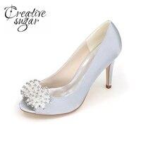 Creativesugar Boncuk charm açık toe kadın topuklu abiye ayakkabı parti balo gelin düğün homcoming kırmızı gümüş mavi beyaz