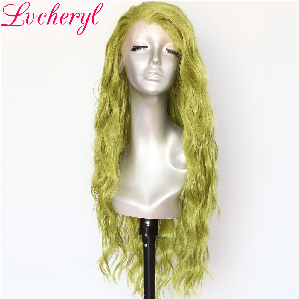 Lvcheryl Hand Tied New Green Color Full Density Water Wave Hair wigs Heat Resistant Hair Wigs Synthetic Lace Front Wigs-in Synthetic None-Lace  Wigs from Hair Extensions & Wigs