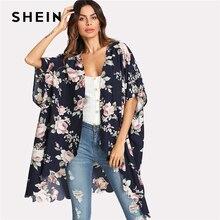 Flower Print Scallop Trim Kimono Women Half Sleeve