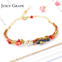 New Pattern Be Listed Hand Enamel Glaze Oriole Bird Cherry Garden Bracelet Hand Decorate Gold Plated