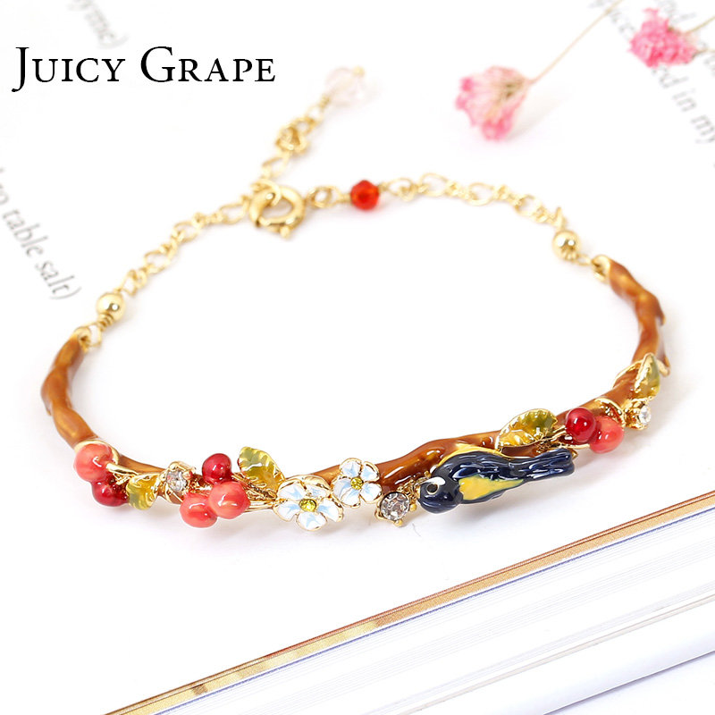 New Arrivals Be Listed Hand Enamel Glaze Oriole Bird Cherry Garden Bracelet Hand Decorate Gold-plated No Fade Woman