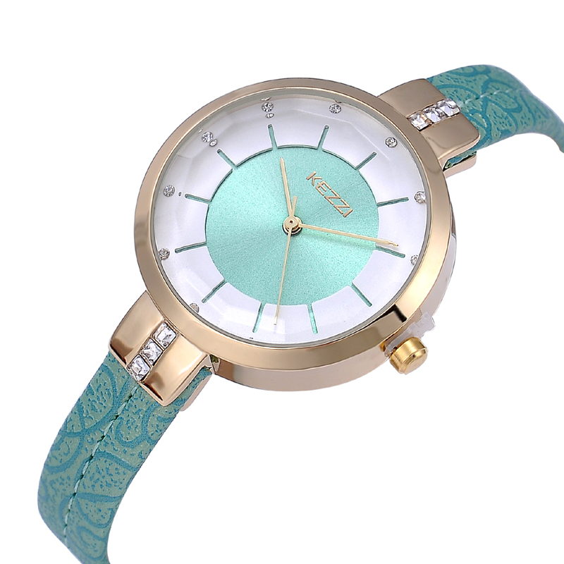 High Quality KEZZI Brand Luxury Ladies Watches Fine Inlaid Cyrstal Dial Leather Strap Quartz Watch Wrist Watches For Women Gift