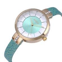 KEZZI Роскошные Брендовые женские часы тонкие инкрустированные Cyrstal циферблат кожаный ремешок кварцевые часы наручные часы для Для женщин подарок