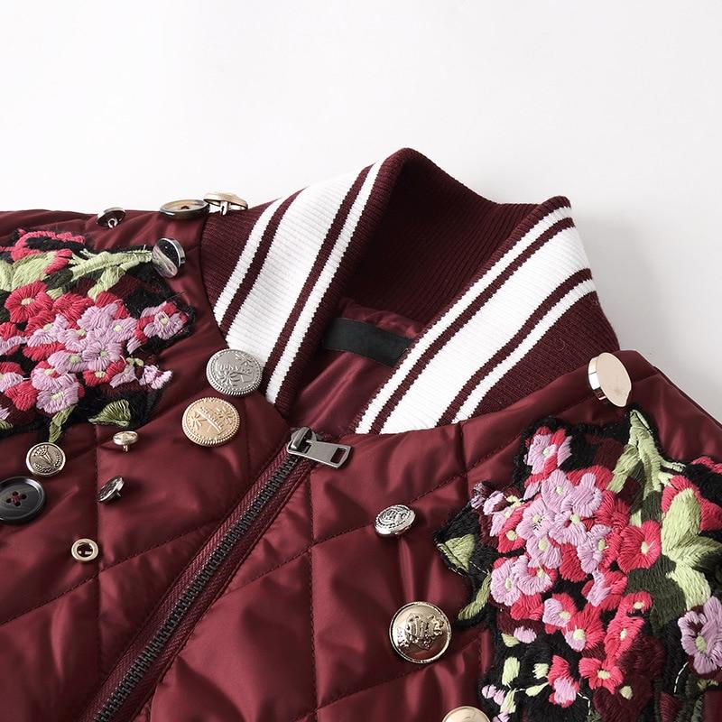 2018 Rouge Outwear Bouton Chaud Automne Bourgogne Veste Femmes Zipper Floral Coton Rembourré Broderie Vintage Manteau Col Stand ZrSZqY