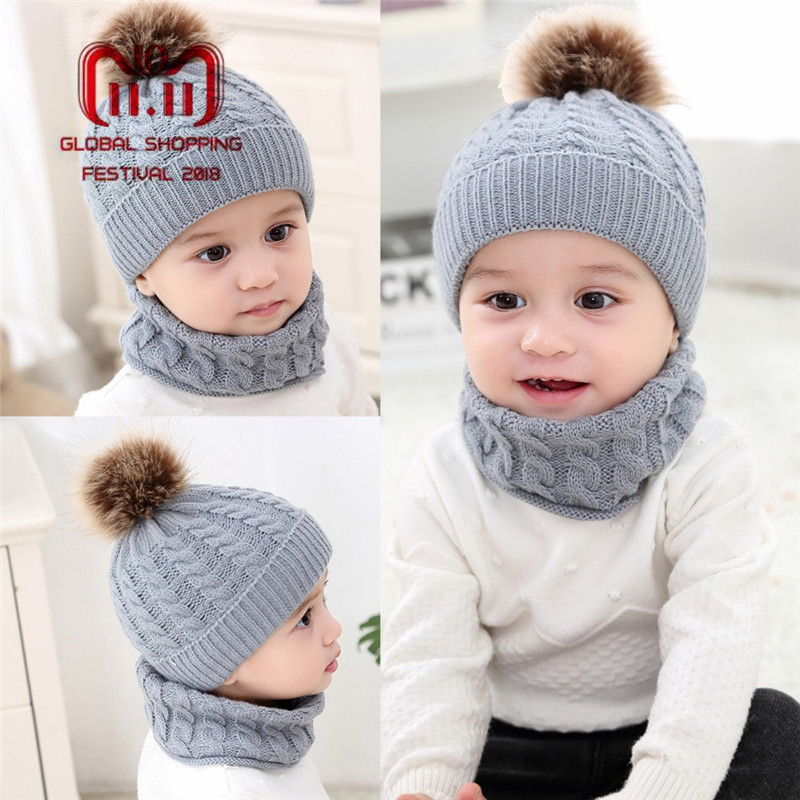 2Pcs/Set Newborn Baby Knitted Hat Scarf With Pompom Warm Caps Scarves Infant Boys Girls Autumn Winter Warm Crochet Beanie Set 2 pcs set family matching hat autumn baby girls boys winter warm gorros para bebe faux fur pompom ball kids knitted beanies hat