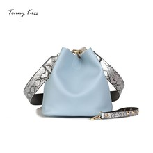 Tonny Kizz bucket luxury handbags women bags designer PU shoulder messenger wide strap serpentine crossbody 2 pcs sac
